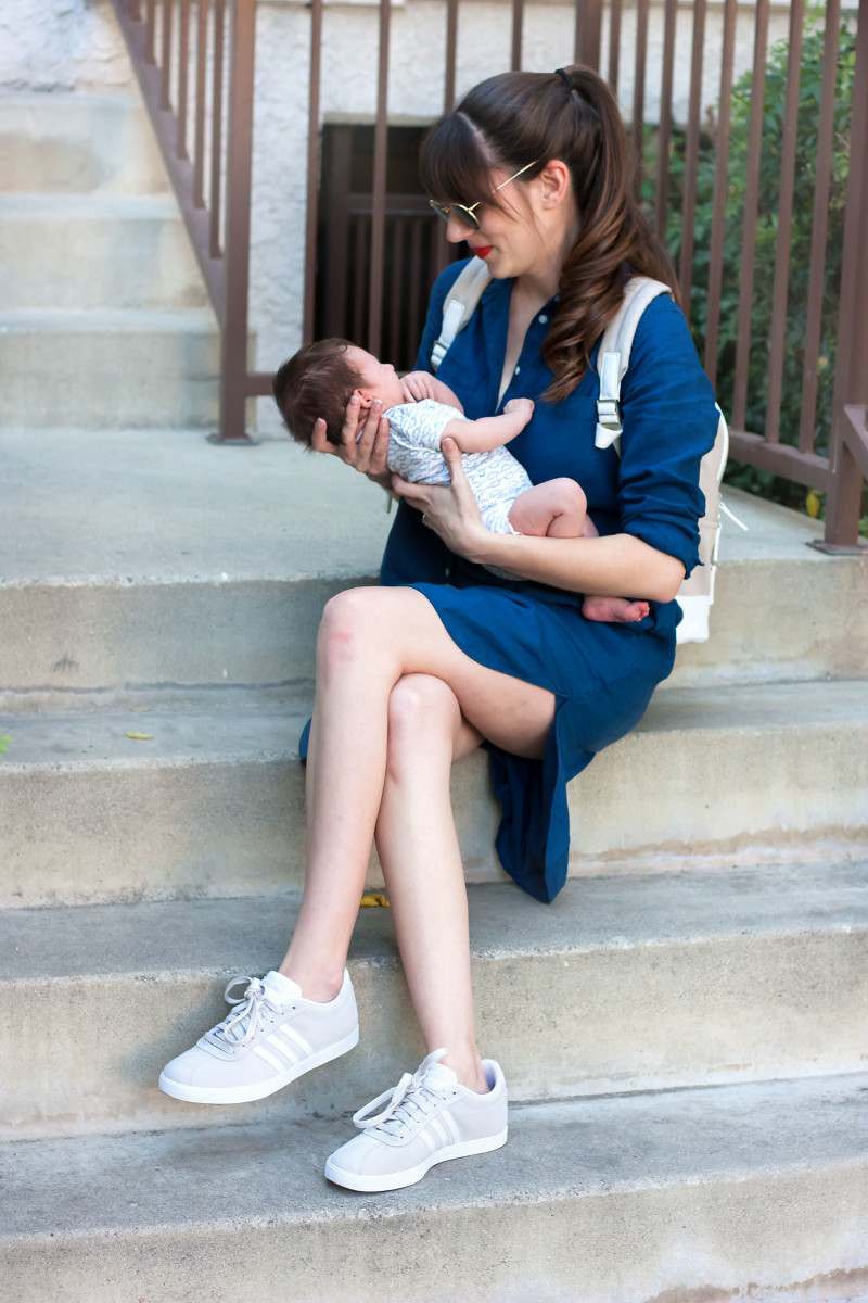 Mom and baby on the go with Famous Footwear