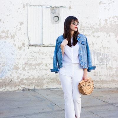 Minimalist Fashion Blogger wearing denim on denim outfit