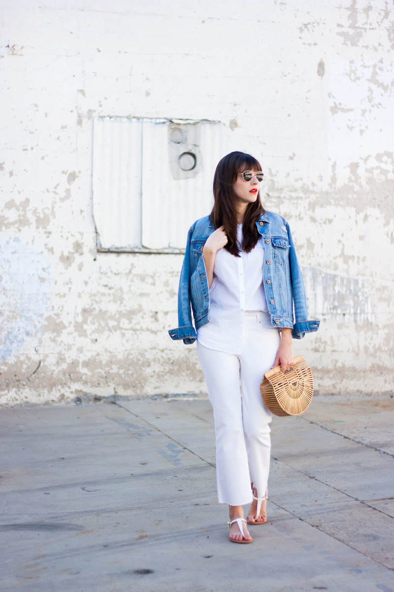 Minimalist Fashion Blogger wearing denim on denim outfit