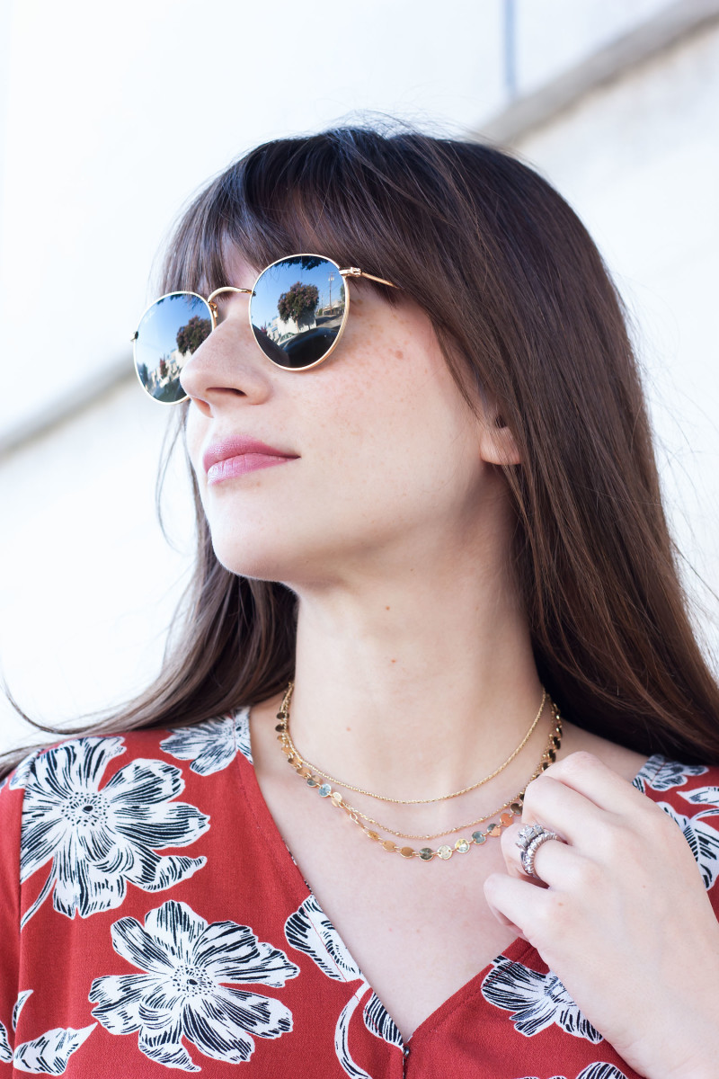 Style Blogger wearing Bauble Bar necklace