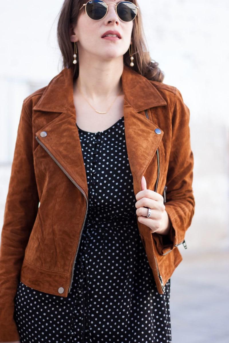 Suede Moto Jacket on Style Blogger