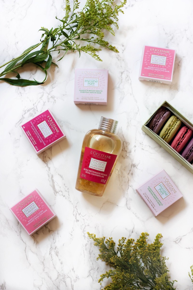 L'Occitane Peony Collection masks and Cleansing oil with macarons