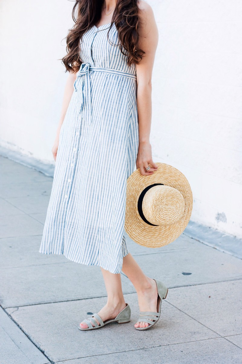 Fashion Blogger wearing Madewell Sandals and Who What Wear Dress