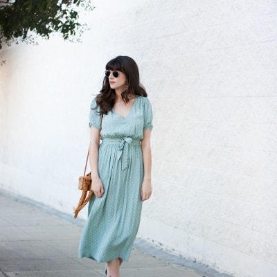 Style Blogger wearing Ladylike polka dot dress