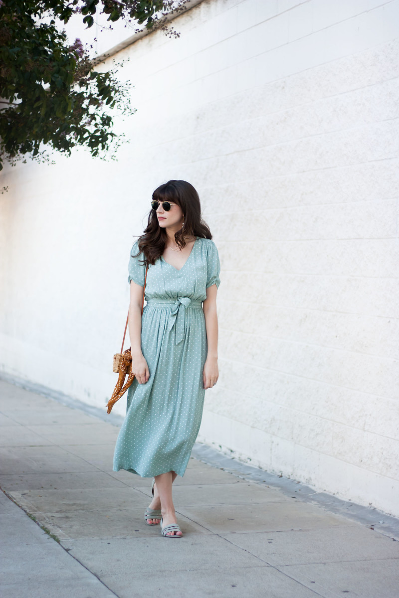 Style Blogger wearing Ladylike polka dot dress