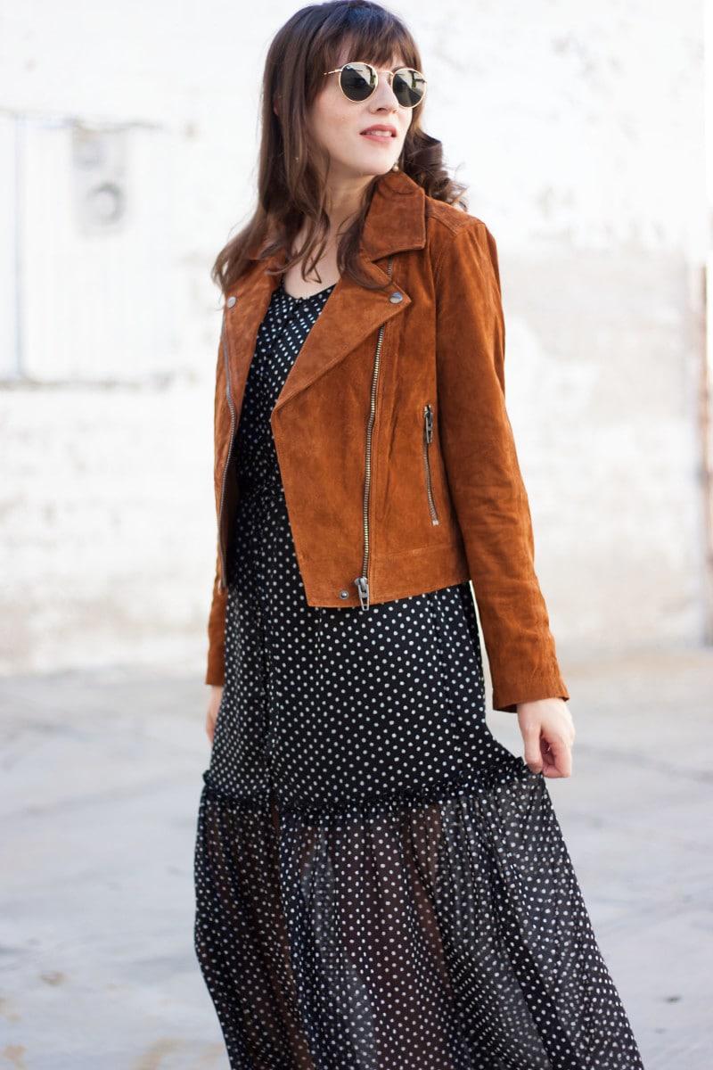 Fashion Blogger wearing Blank NYC Suede Moto Jacket