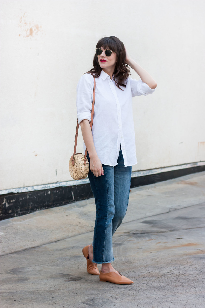 Jeans and a Teacup wearing Linen Shirt, Who What Wear denim and Zara shoes