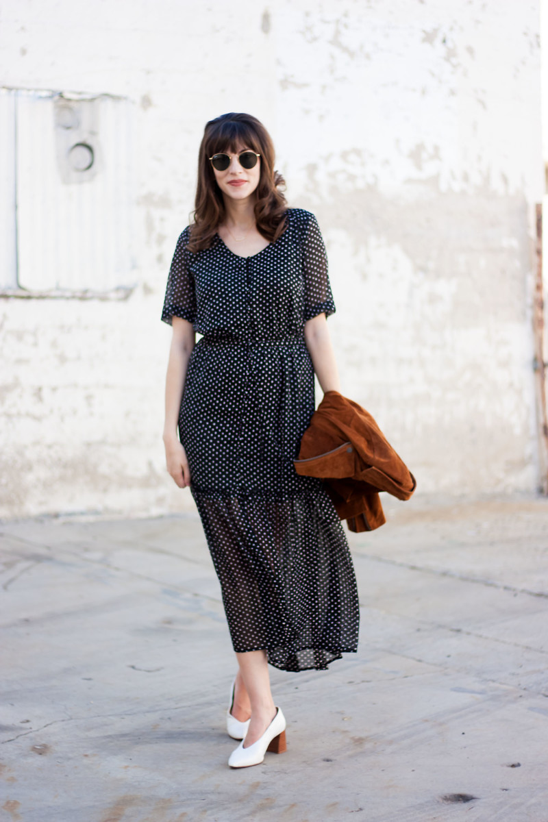 Style Blogger wearing Who What Wear Polka Dot Dress