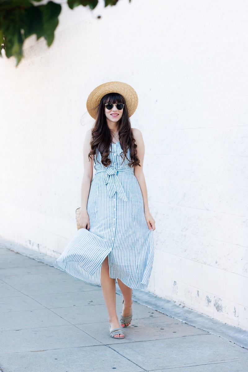 Jeans and a Teacup wearing Who What Wear Striped Midi Dress