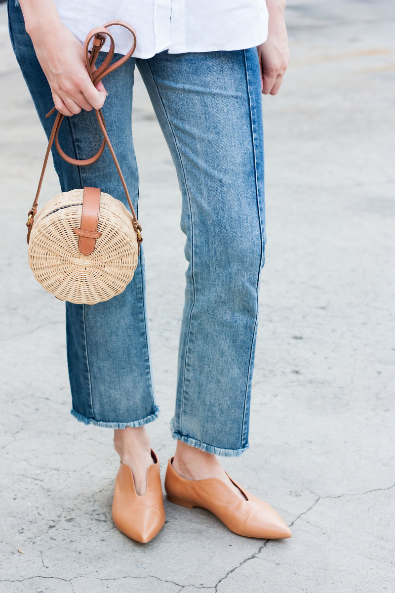 Style Blogger wearing Zara pointed leather shoes and J.Crew circle bag