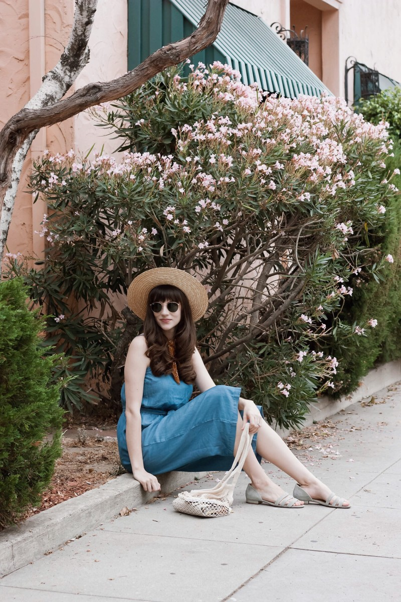 Minimalist Style Blogger wearing Chambray Culotte Jumpsuit