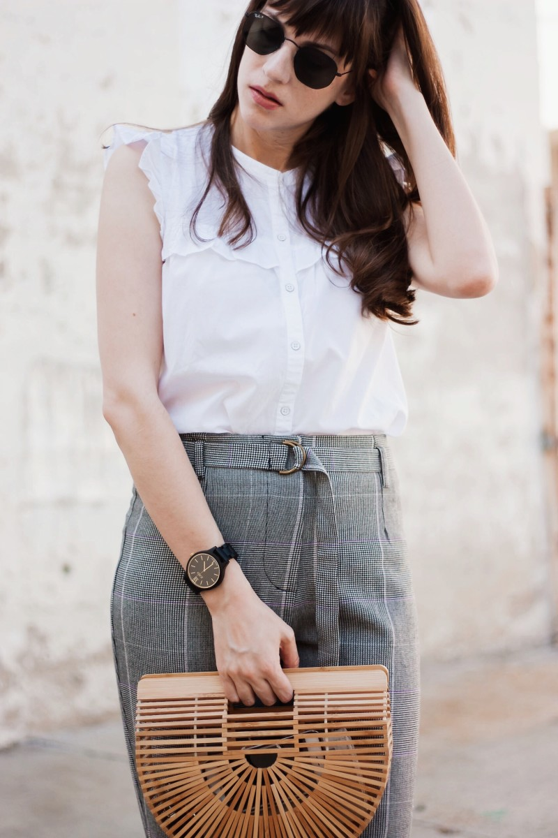 California Blogger wearing wood accessories