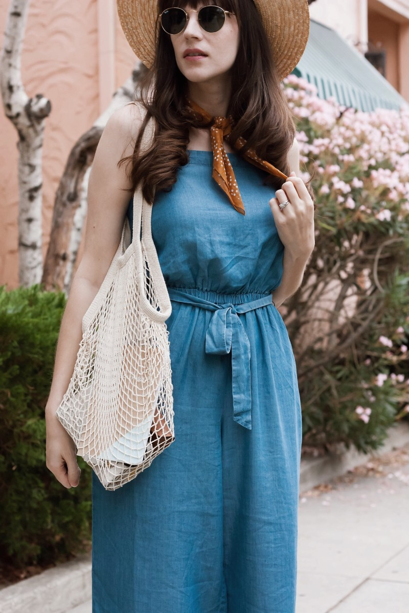 Los Angeles Style Blogger styling a French Net Market Bag