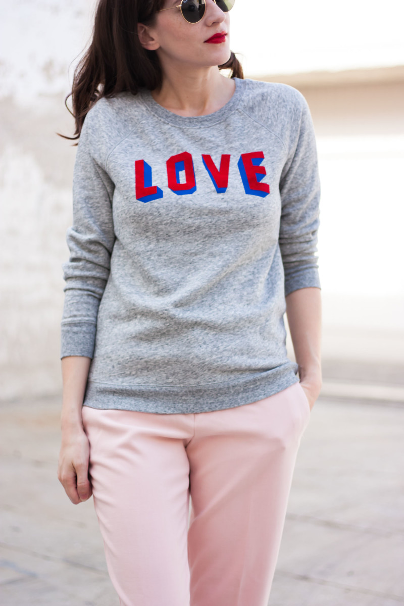"Los Angeles Style Blogger wearing ""Love"" sweatshirt from Old Navy"