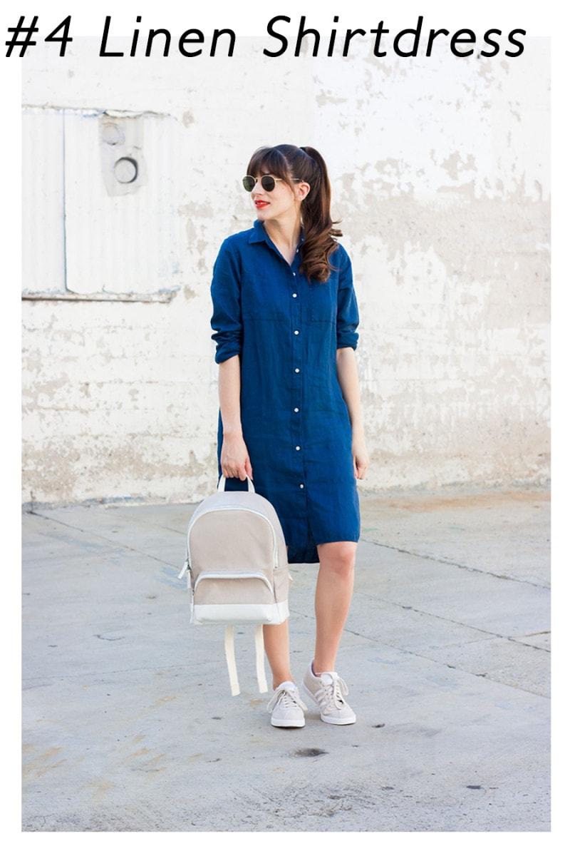 Minimalist Fashion Blogger wearing Everlane LInen Shirtdress
