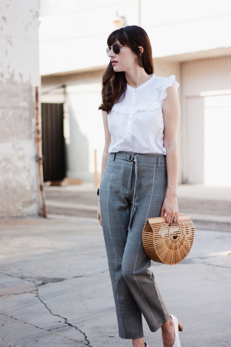 Jeans and a Teacup Style Blogger wearing plaid trousers