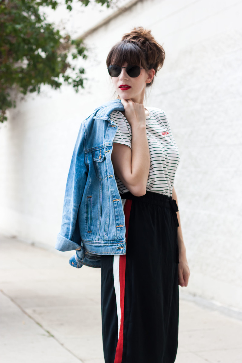 Jeans and a Teacup wearing Who What Wear collection skirt