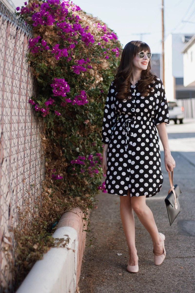 Los Angeles Blogger wearing Who What Wear Polka Dot Dress from Target