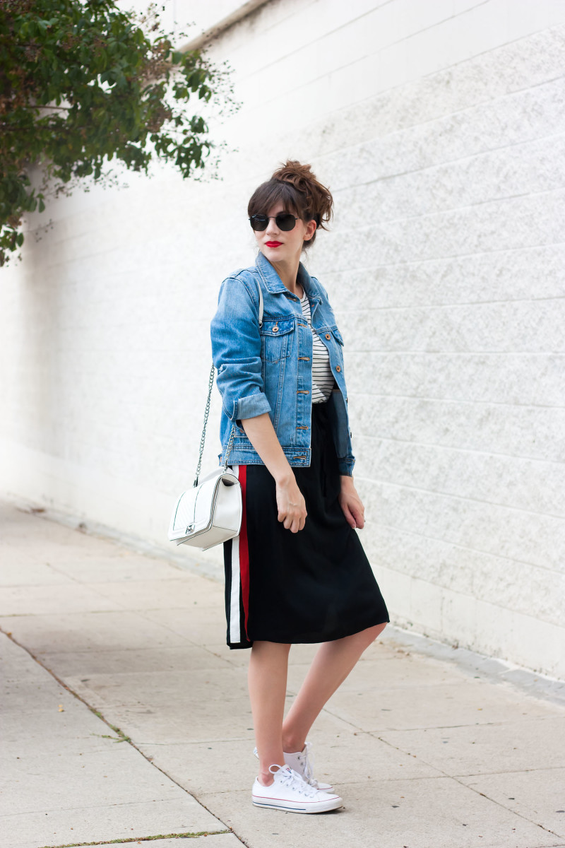 Los Angeles Style Blogger wearing track skirt from the Who What Wear Target Collection