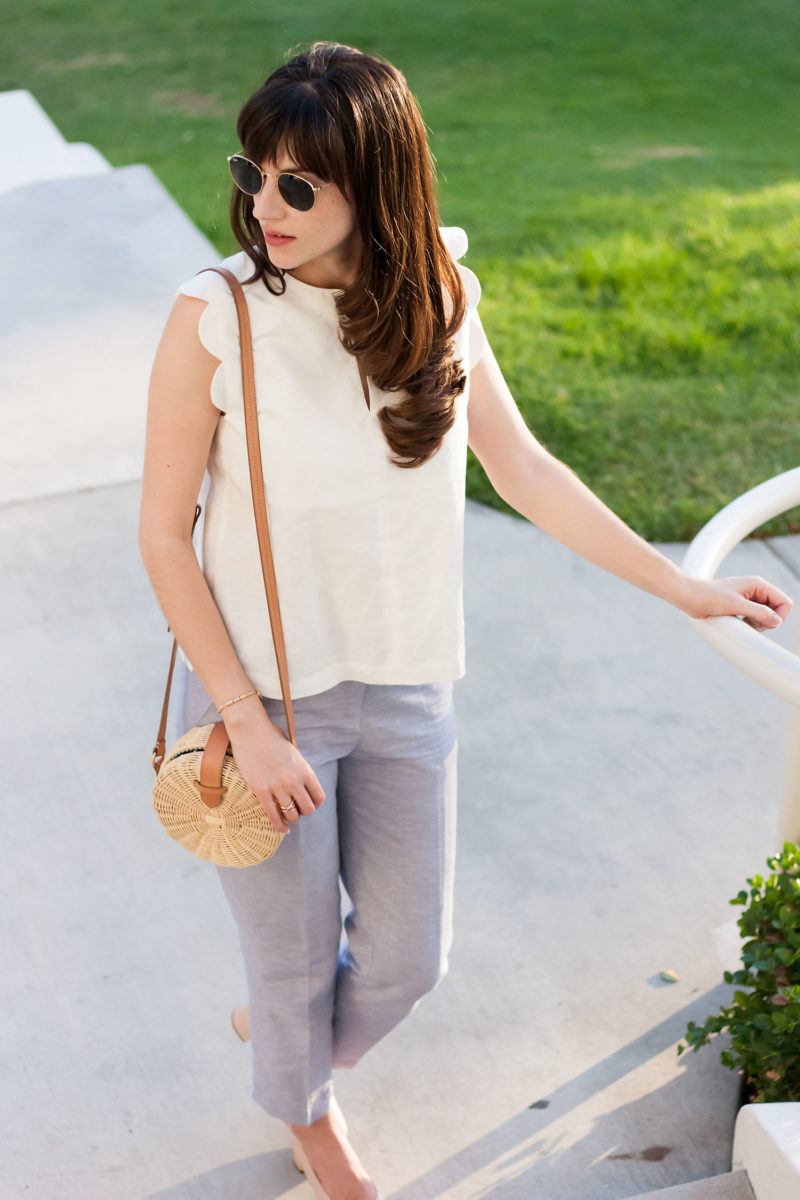 Los Angles Blogger wearing Scalloped Linen Top