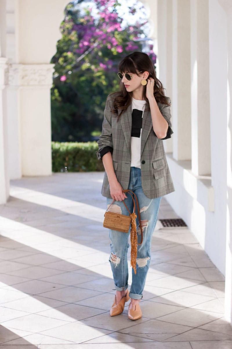 Los Angeles Style Blogger wearing Plaid Boyfriend Blazer for fall.