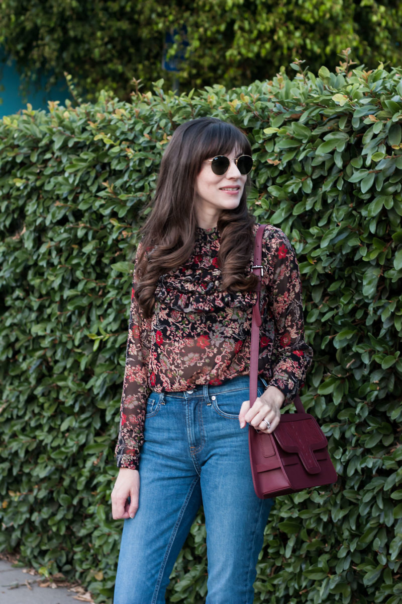 Jeans and a Teacup wearing fall floral blouse