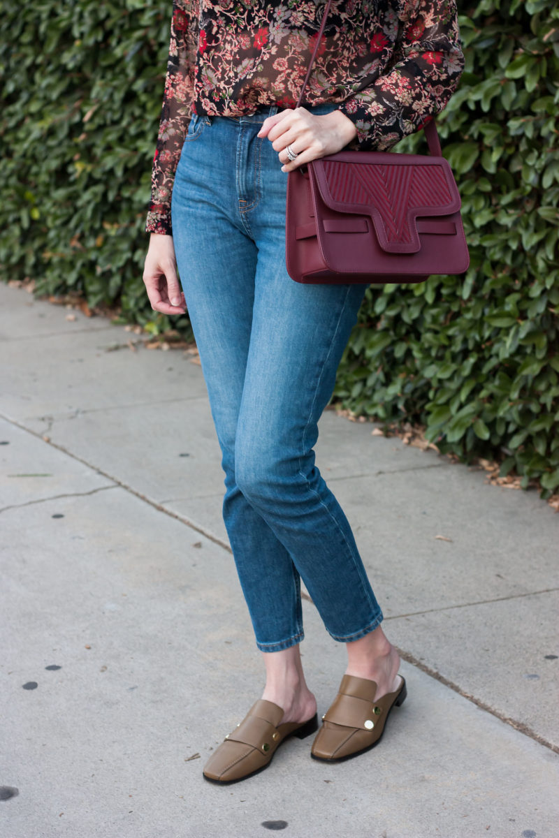 Style Blogger wearing olive mules and burgundy leather bag