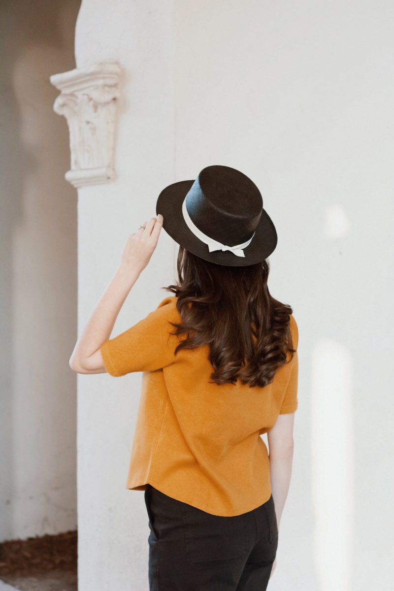 California Blogger wearing Kin the Label Straw Hat