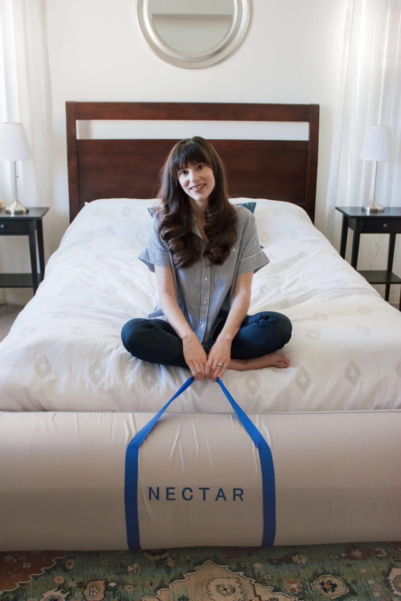 Los Angeles Blogger reviewing NECTAR memory foam mattress