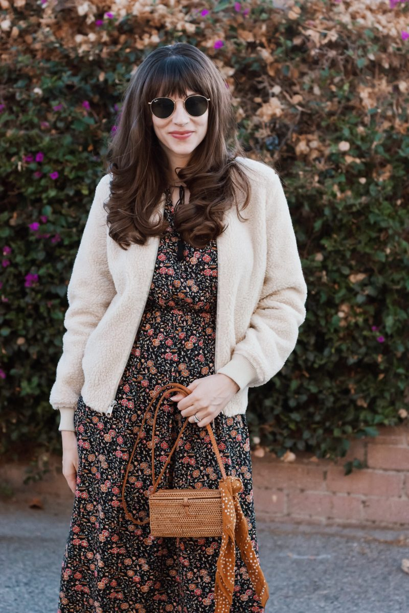 Shearling bomber jacket and fall floral dress