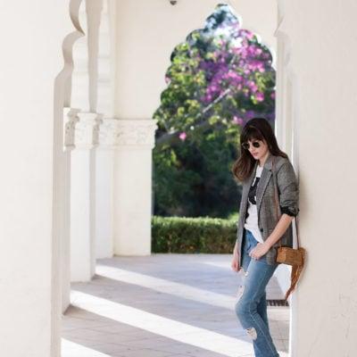 California Style Blogger wearing plaid boyfriend blazer