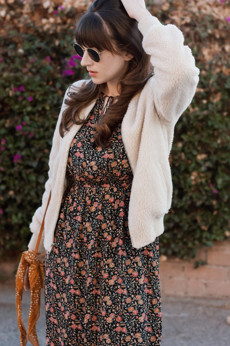 Style Blogger wearing Shearling Bomber Jacket and 31 bits bag
