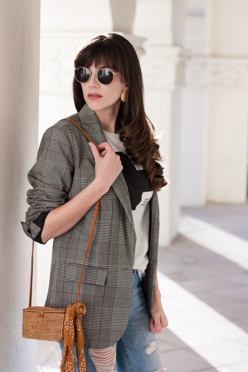 Los Angeles Blogger wearing a fall 2017 trend Target Plaid Blazer