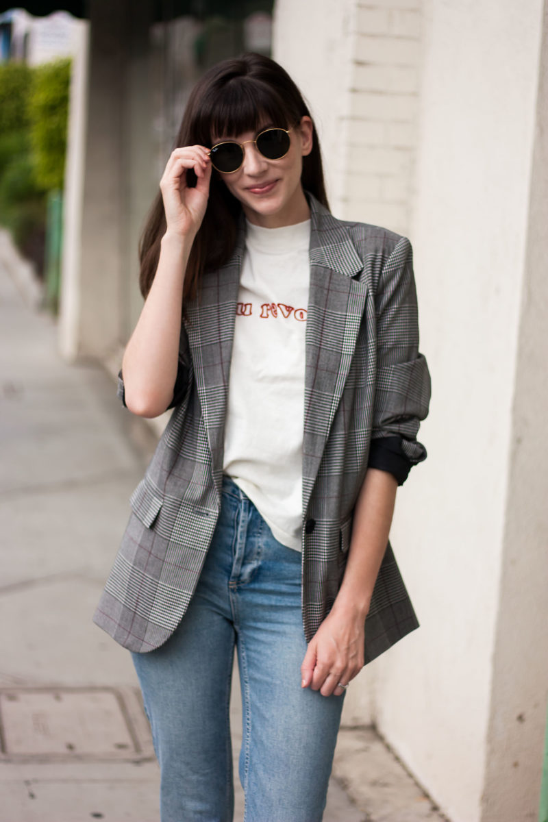Style Blogger wearing Au Revoir tee and plaid boyfriend blazer