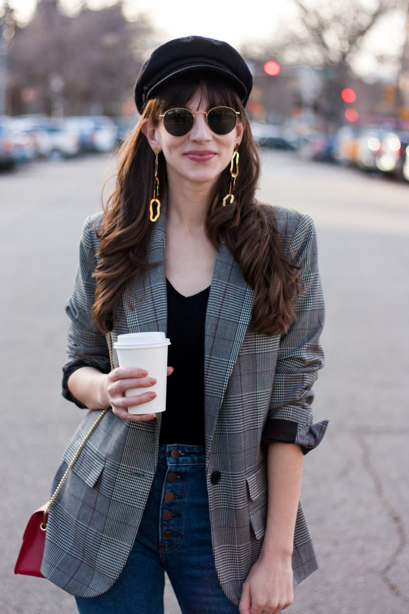 Jeans and a Teacup with Baker Boy Hat and Bauble Bar Earrings