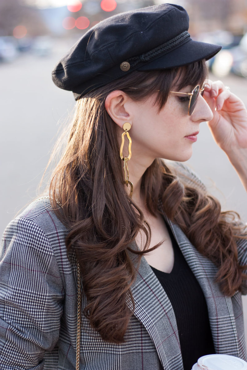 Brixton Baker Boy Hat with Bauble Bar Earrings