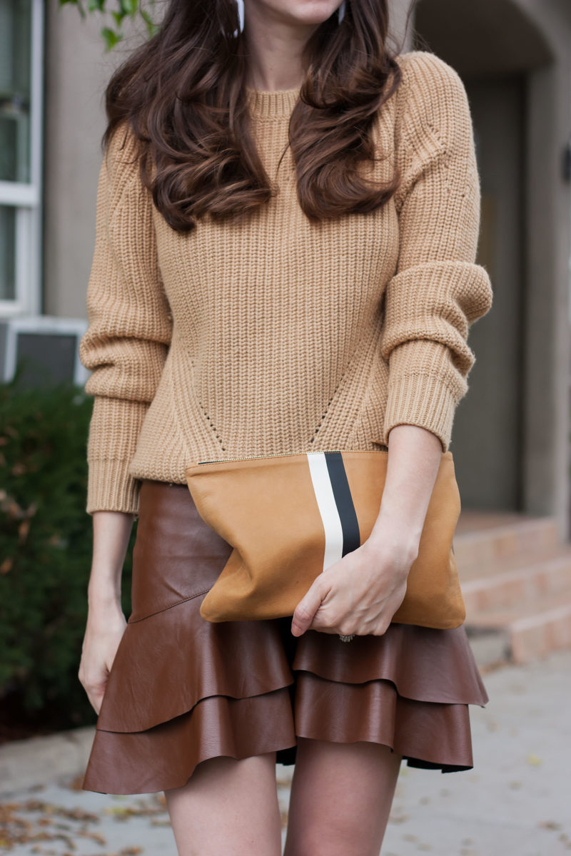 Jeans and a Teacup with Clare V Clutch and ruffle leather skirt