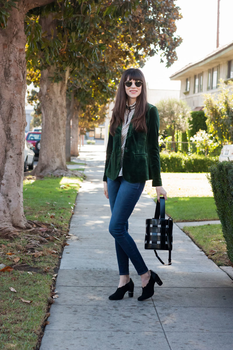 Los Angeles Style Blogger wearing Famous Footwear shoes for the holidays