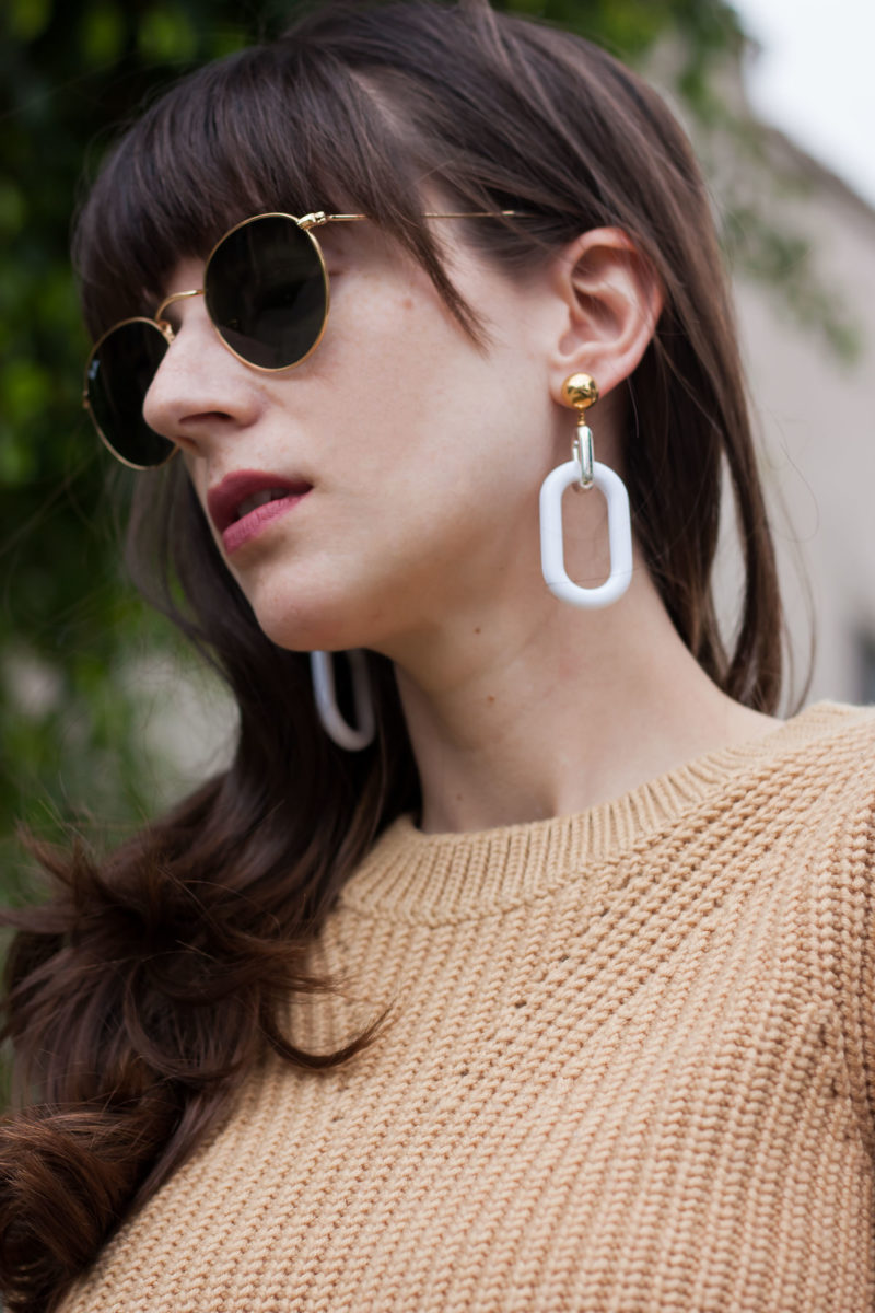 Style Blogger wearing History and Industry Minimalist Earrings