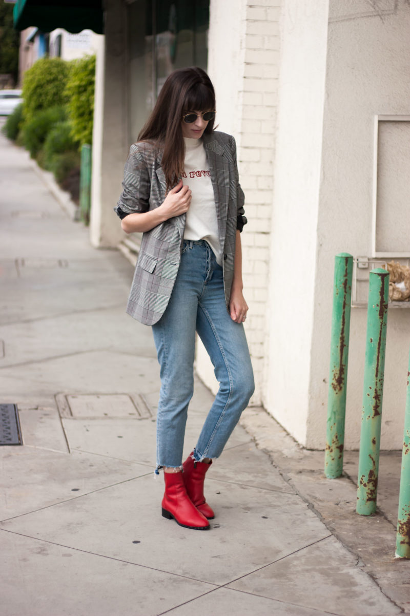 Los Angeles Minimalist Style Blogger wearing Plaid Blazer and Red Booties