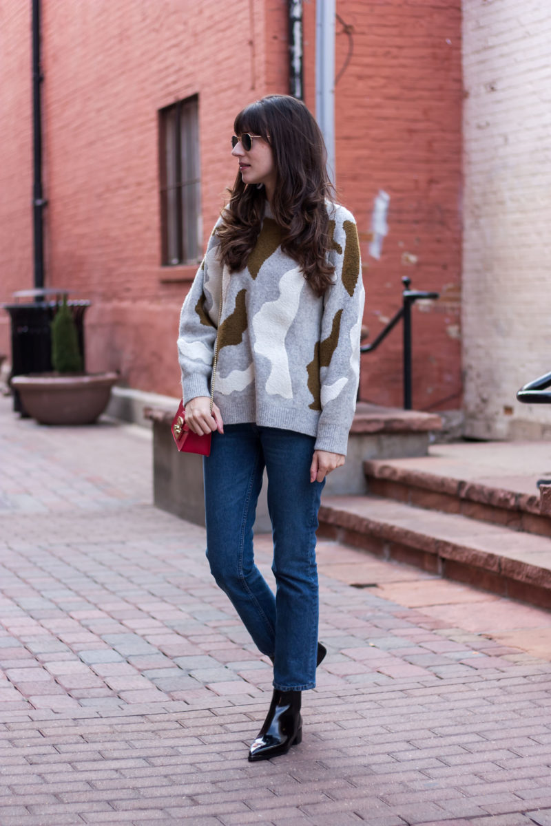 Oversized sweater with reformation jeans and marc fisher booties