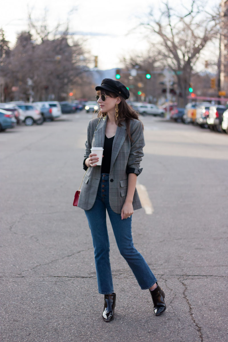 Style Blogger wearing Boyfriend Plaid Blazer and Reformation Jeans