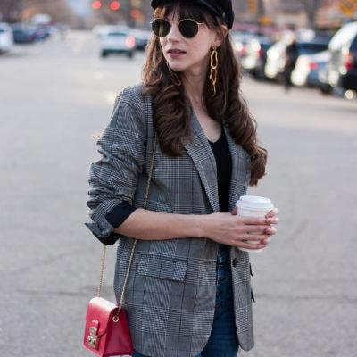 California Blogger wearing Target Plaid Blazer and Furla Metropolis Bag