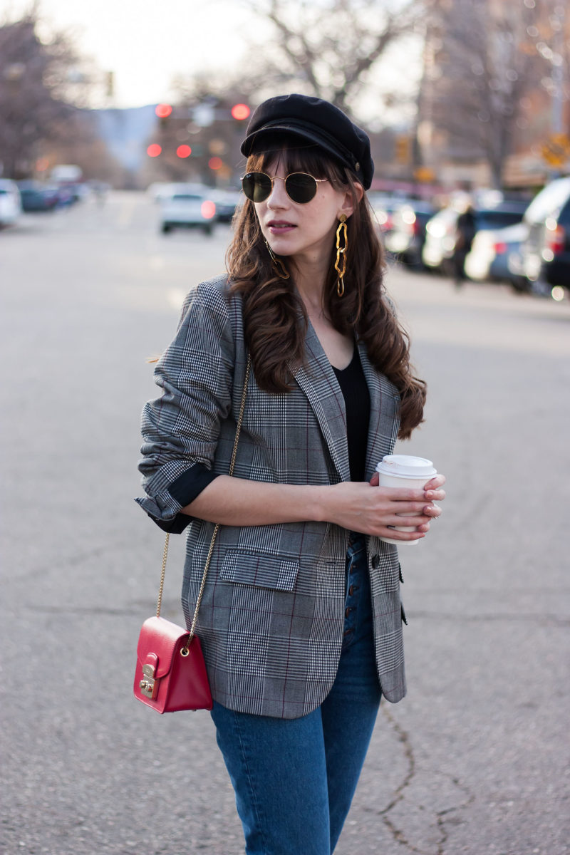 California Blogger wearing Target Plaid Blazer and Furla Metropolis Bag
