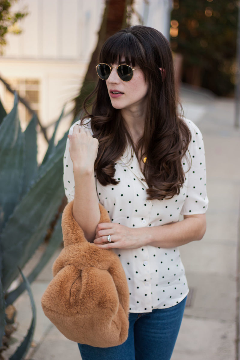 Los Angeles Fashion Blogger with Free People Fur bag