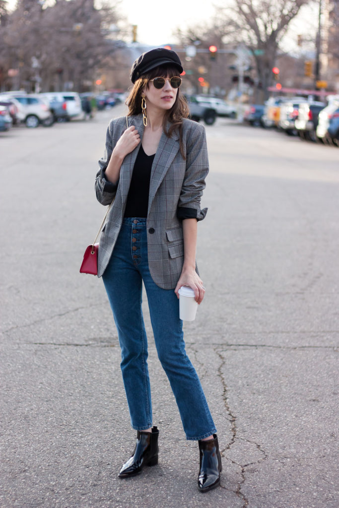 Los Angeles Style Blogger wearing Marc Fisher Booties, Reformation Jeans and Baker Boy Hat