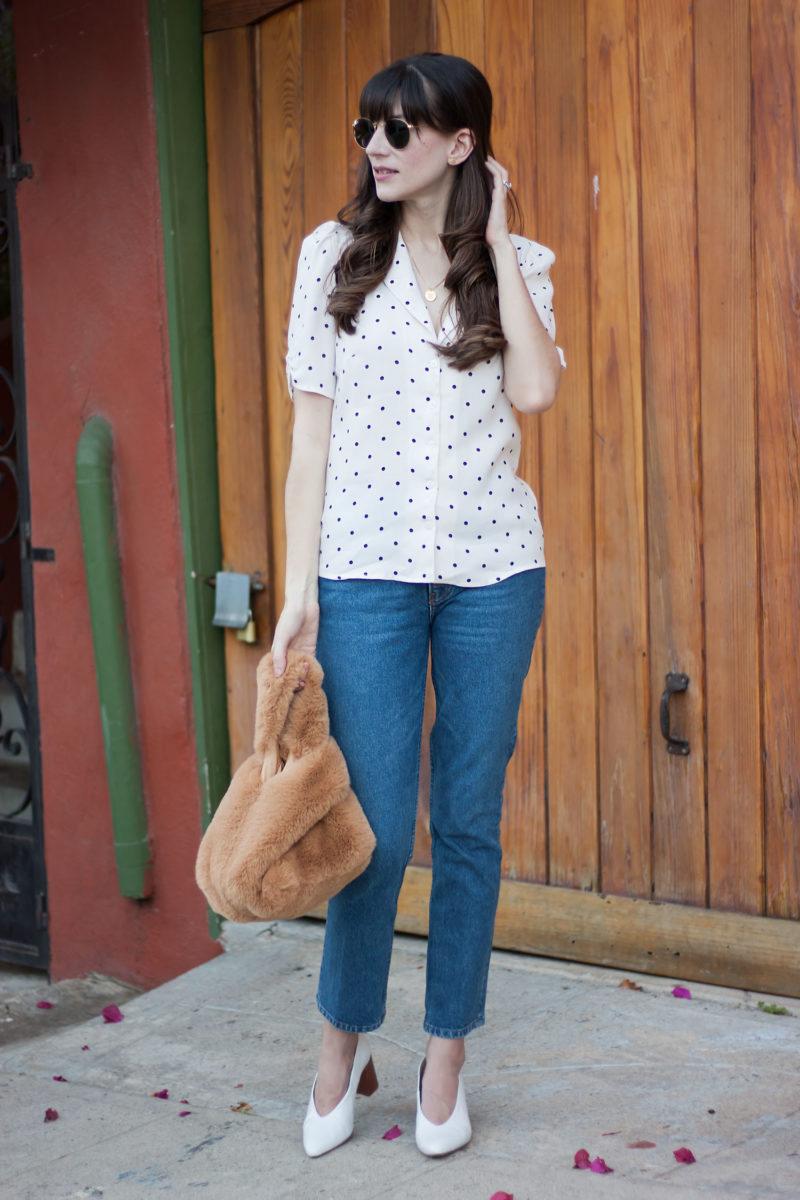 Jeans and a Teacup wearing Reformation polka dot top and jeans
