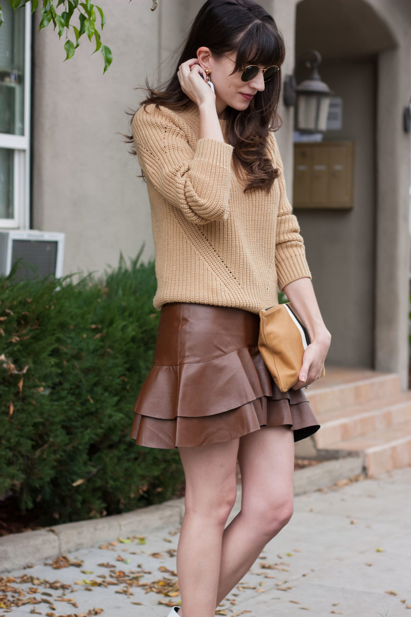 Style Blogger wearing Espresso Brown leather Skirt