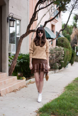 Los Angeles Blogger wearing Ruffle Leather Skirt and Camel Sweater