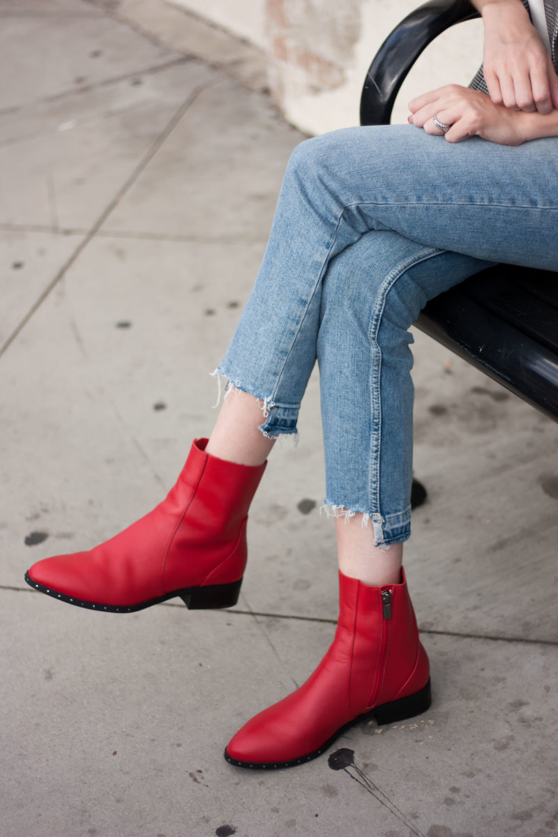 Blogger wearing Topshop red ankle boots